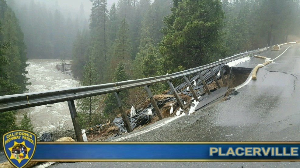 CHP: WB US-50 collapses east of Bridal Veil Falls in El