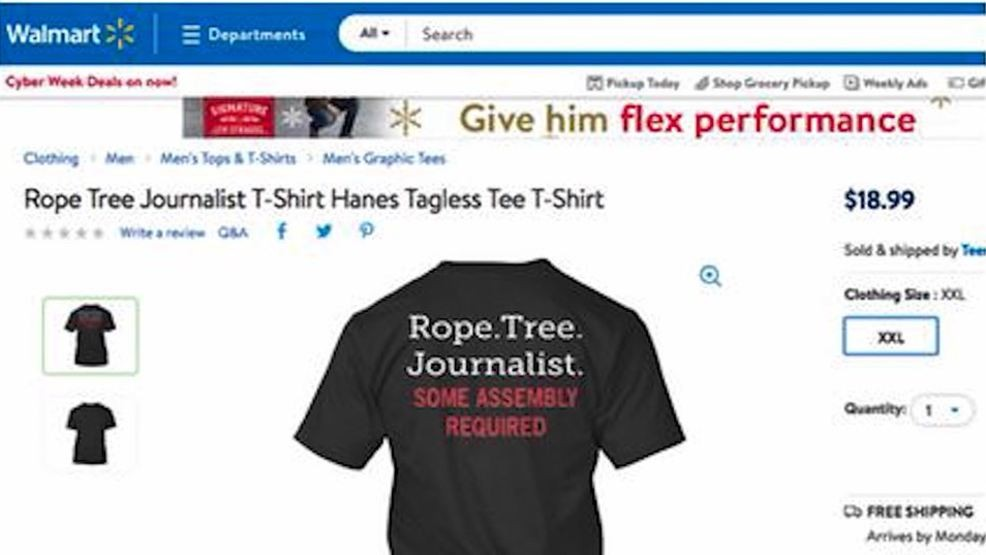 0b111053 <p>Walmart has pulled a T-shirt offered by an outside seller from its  online store after a journalist advocacy group told the retailer it found  the shirt ...
